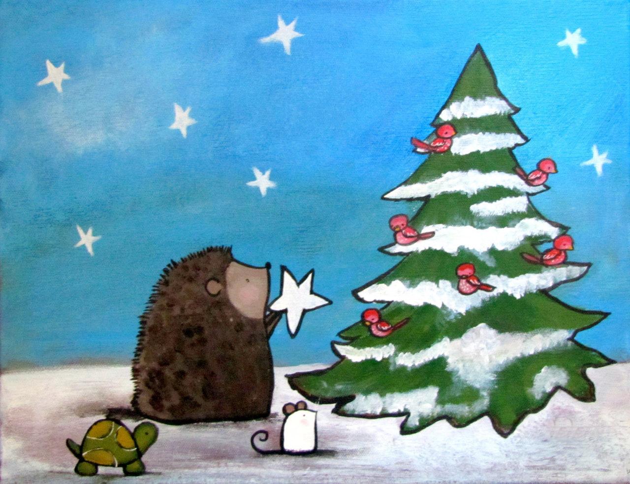 hedgehog animals decorate christmas tree composition