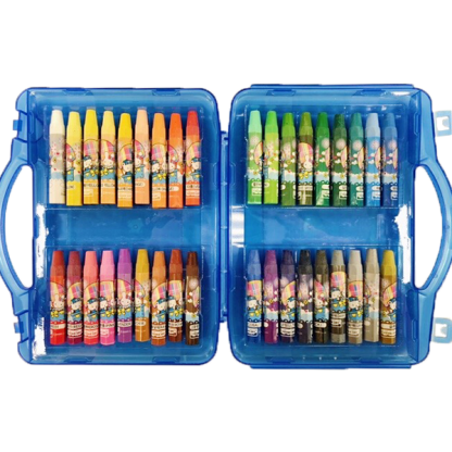 image of 36 oil pastels in a rainbow of colors