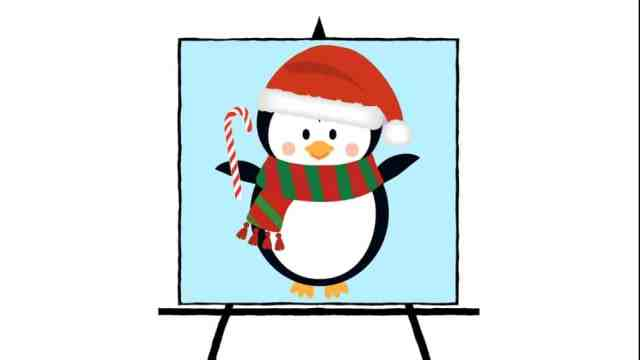 colorful holiday penguin with candy cane