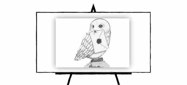 black and white sketch of hedwig owl
