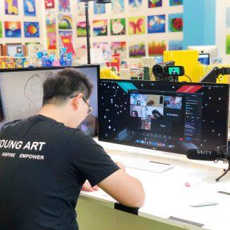 image of teacher leading virtual art class