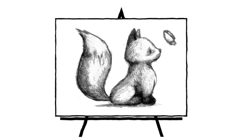 black and white sketch of a baby fox