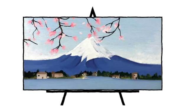 colorful painting of mount fuji with cherry blossoms