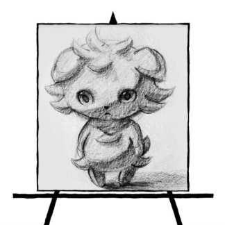 pencil sketch of pokemon character espurr