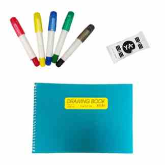 image of sketchbook, pack of clay, 5 art colors
