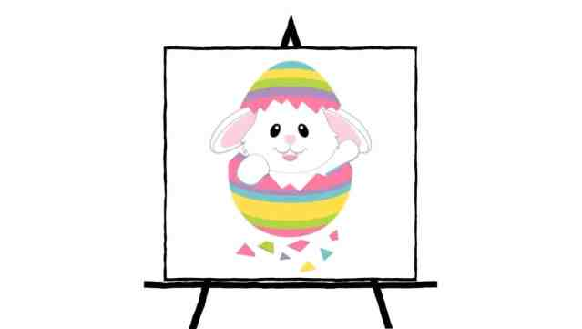 bunny in easter egg drawing colorful