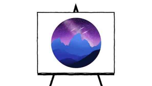 digital painting of mountains in night sky