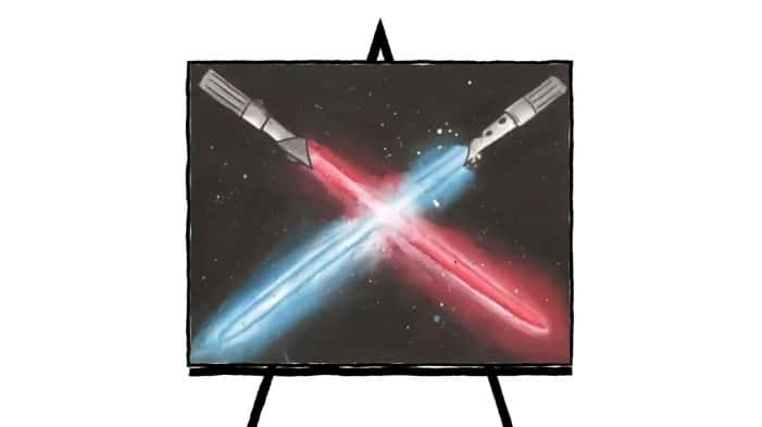 painting of colorful light sabers