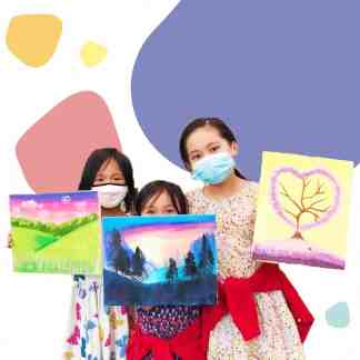 image of 3 girls holding paintings