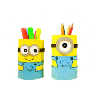 yellow character pencil holders with glasses and blue overalls