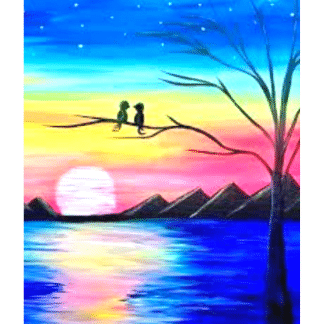 colorful sunset background with two birds on a tree overlooking the water and mountains