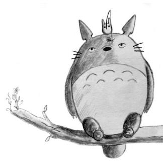 pencil drawn totoro