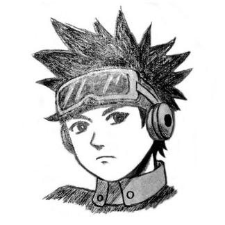 Pencil drawn anime character
