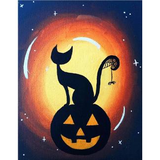 black cat painting