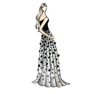 a woman wearing black dress