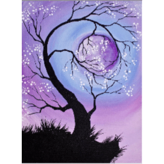 black silhouette curvy tree with white blossoming flowers on purple and blue background