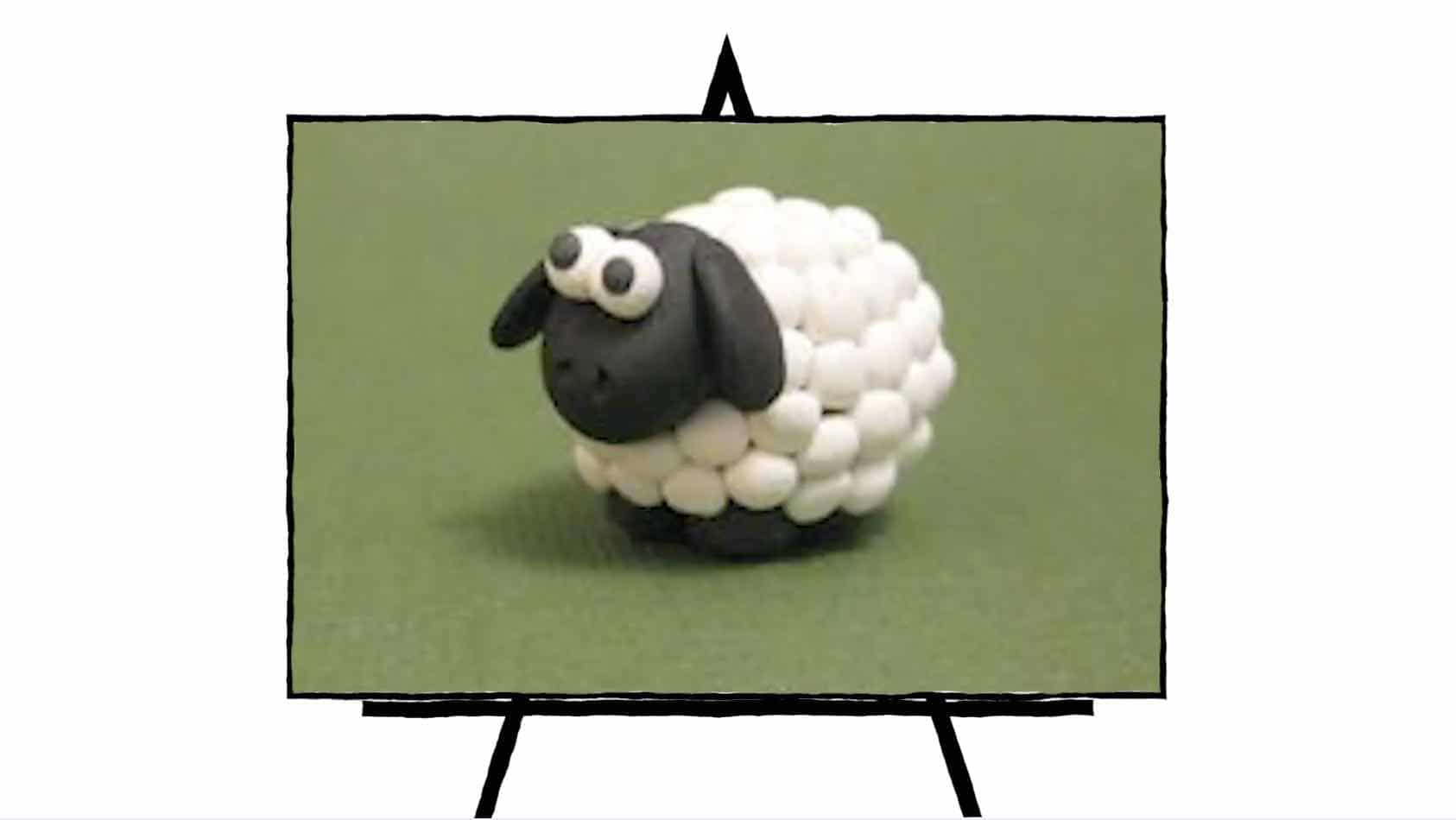 image of a 3d sheep in black and white clay sculpture