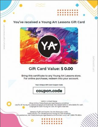 Young Art Lessons colorful gift card certificate for printing. Sent by request only.