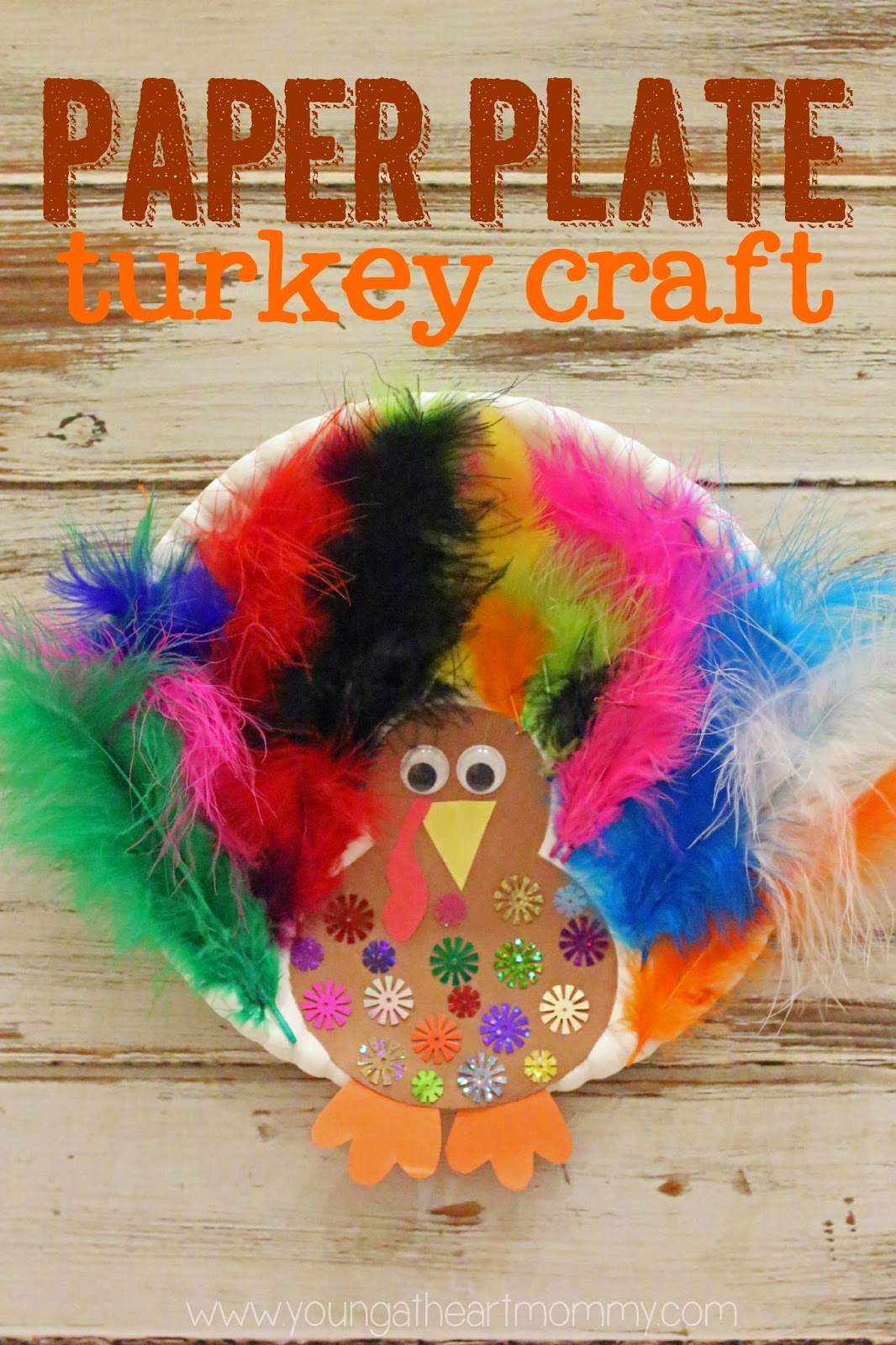 Easy To Make Paper Plate Feathered Turkey Craft For Kids