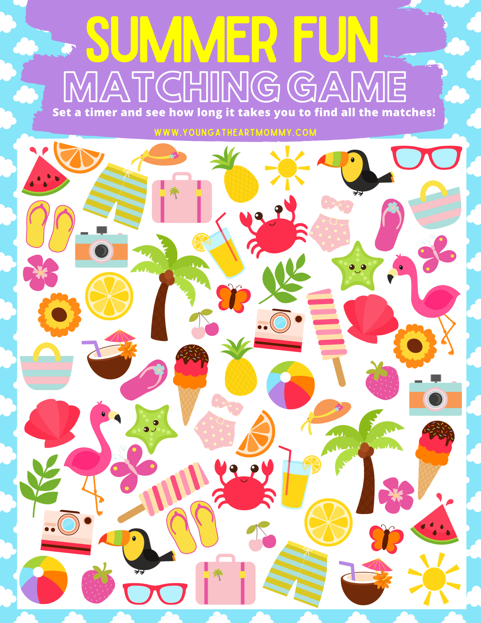 Free Summer Fun Matching Game Printable