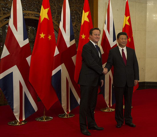 Prime Minister David Cameron meets with President Xi Jinping on a trade mission in Beijing in 2013. Flickr / Number 10.