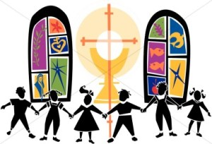 Children Praising the Lord in Church