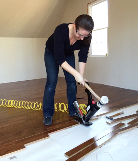install hardwood flooring sherry using power nailer