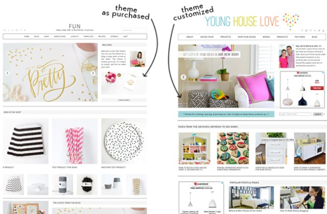 how to start a blog side-by-side comparison of two blog theme designs