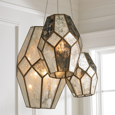 Mercury Glass Prism Chandelier for Shades of Light