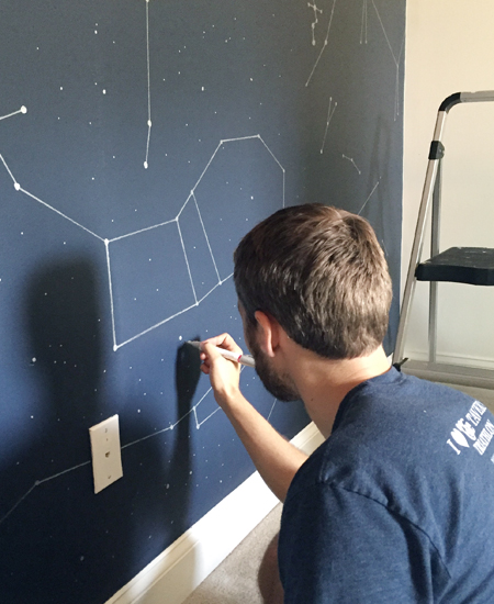 Boys Outer-Space-Bedroom Drawing-Star-Dots With Paint Pen