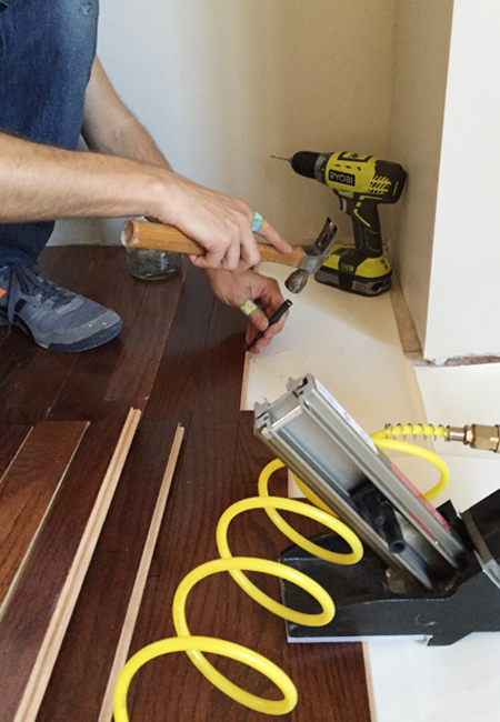 install hardwood flooring hand nailing ends