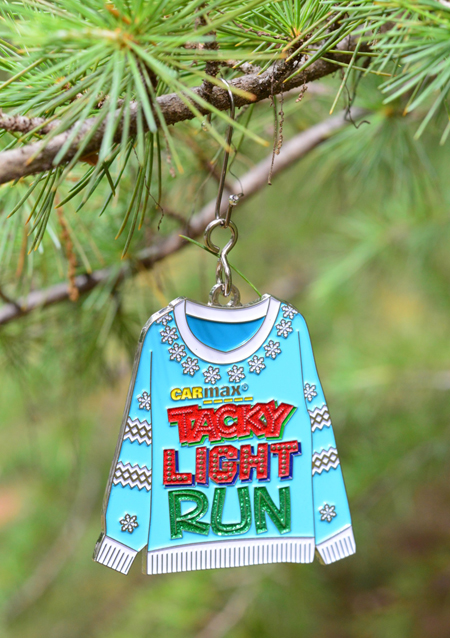race medal ornament hung with hook instead of ribbon