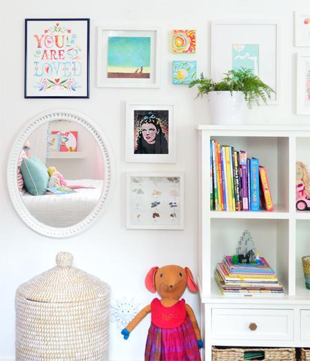 GirlsRoom-Bookcase-Art-Frames-Detail