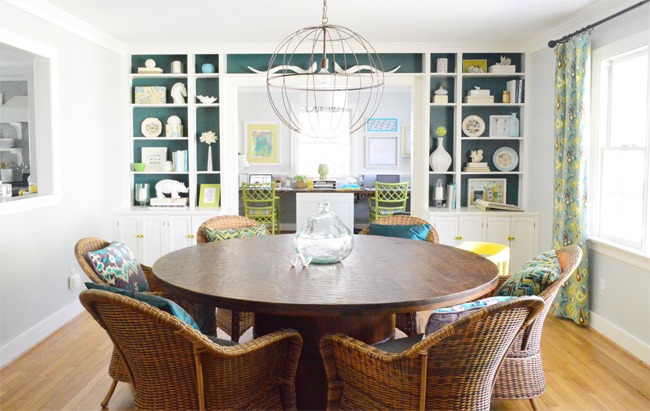 built-in-bookshelves in dining room blue background