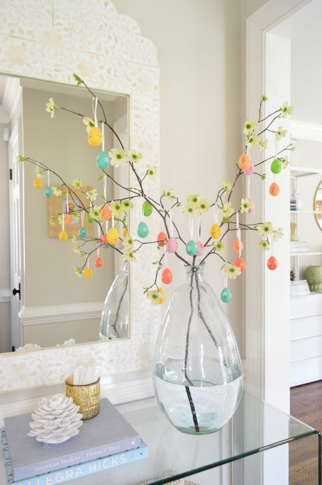Easter Egg Tree with colorful egg ornaments
