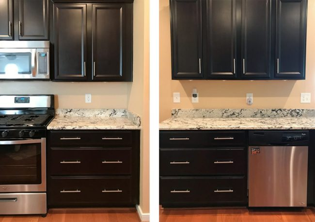 before photos of kitchen without a tile backsplash