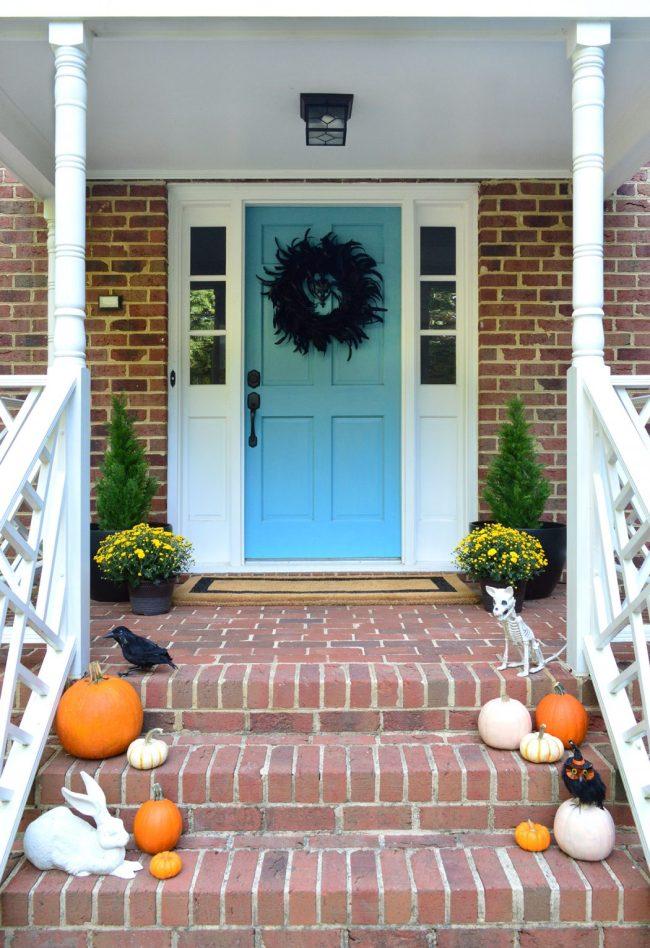 Front Porch Halloween Decor Pumpkins Blue Door Mums