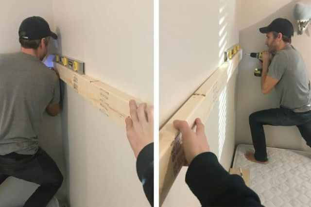 John using force to drive RSS screws into 2x4