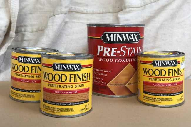 assortment of Minwax stain color test pots