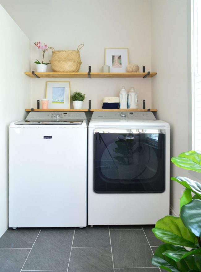storage solution for top loading washing machines wood shelves