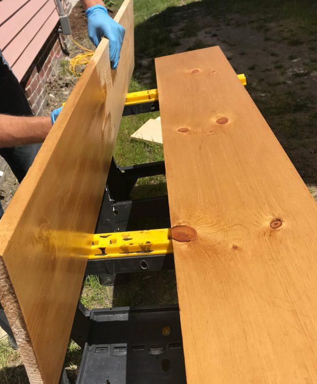 staining wood shelves with minwax puritan pine