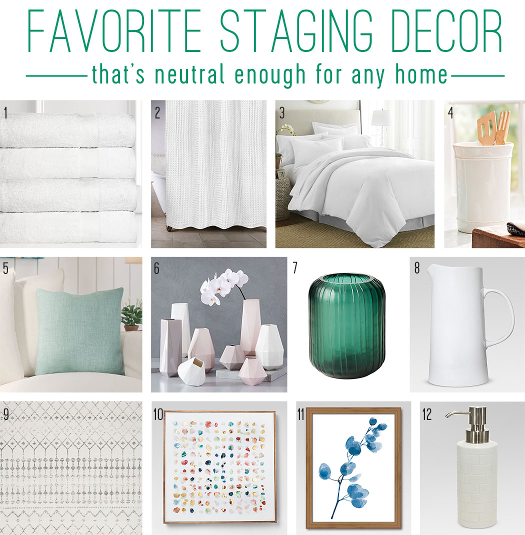 mood board of favorite staging decor that neutral for any home