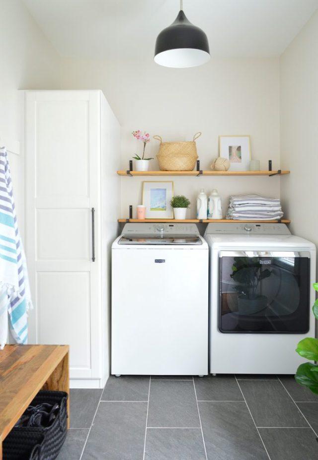 Faux ikea greenery in beach house laundry room