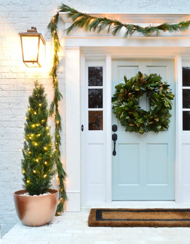 This image has an empty alt attribute; its file name is Christmas-Decor-2018-Front-Porch-Detail-795x1024.jpg