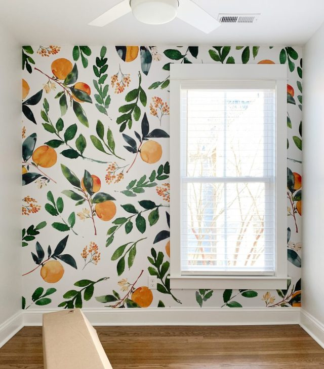 Removable Orange Blossom Wallpaper Mural In Small Room