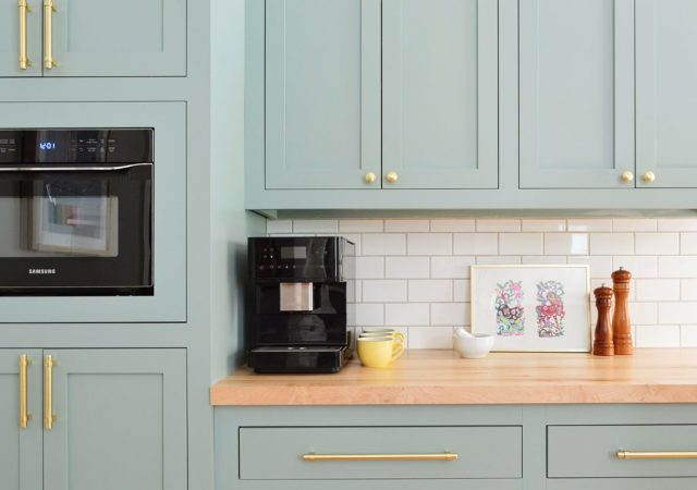 Espresso Machine On Coffee Counter In Halcyon Green Blue Kitchen