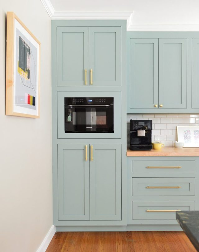 Tall Pantry Cabinet With Wall Microwave In Halcyon Green Blue Kitchen