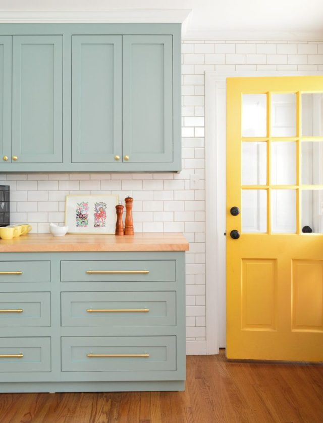 Bee Yellow Back Door Against Halcyon Green Blue Kitchen Cabinets