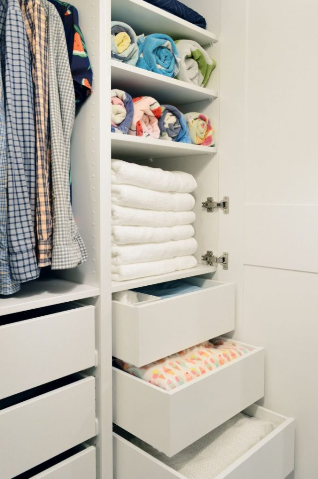 Linen Towel Storage On Shelves And Drawers In Ikea Pax Wardrobe