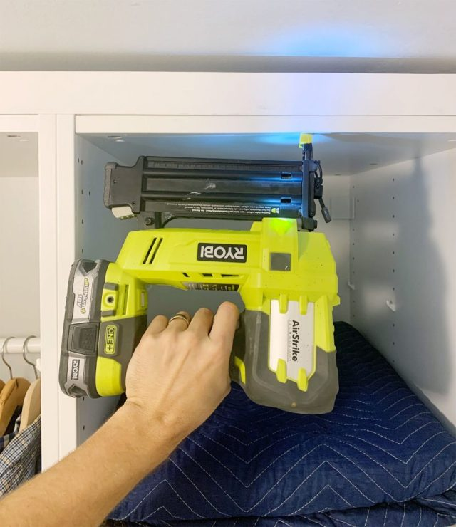Ryobi AirStrike Nailer Attaching First Board To Build In Ikea Pax